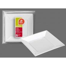 Bolsa de 6 Platos Llanos Cuadrados de plásticos color Blanco 17cm 242400 (1 ud) (OUTLET)