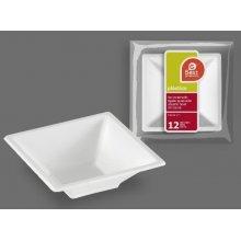 Paquete de 12 Bol Cuadrados de Color Blanco 12x12x4cm 271500 (1 paquete)