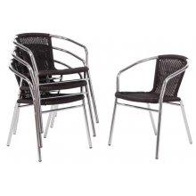Silla de mimbre y aluminio negra U507 Bolero (Juego de 4)