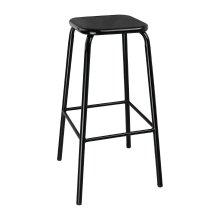 Taburete alto de acero negro y asiento metálico DE483 Bolero (Juego 4)