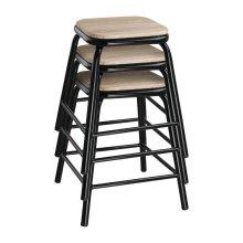 Taburete bajo acero negro asiento madera DE481 Bolero (Juego 4)