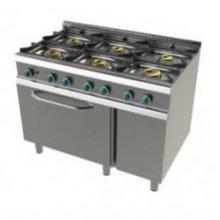 Cocina a gas modular 6 fuegos con horno y válvula termostática 1200x730x900h mm FO7N601VT