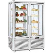 Armario refrigerado Especial Pastelería 4 caras de cristal 800 litros con 4 estantes rotativos y 4 fijos EUROFRED PRISMA800RGTN