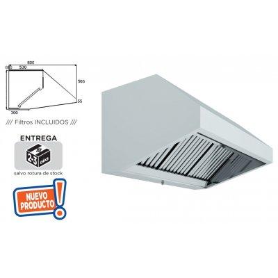 Campana Extracción Mural Hostelería en Acero Inoxidable SIN TURBINA de 1500x800x700h mm 15080CM