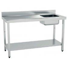 Mesa de Trabajo Acero Inoxidable CON Cubeta CON Estante de 1400 x600 x850h mm MCIC614