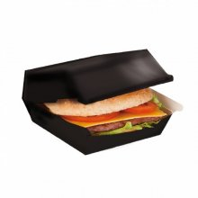 Pack 50 Cajas Fast food de 22,5x18x9cm Lunch box Negro 220.05 Garcia de Pou (Pack 50 uds)