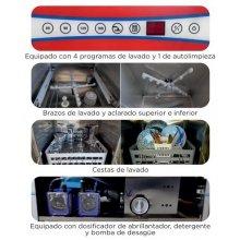 Lavavajillas industrial cesta 40x40 con control electrónico digital táctil CH400B-D