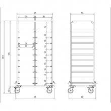 Carro con guías para bandejas isotérmicas Euronorm CBIE-20 EDENOX