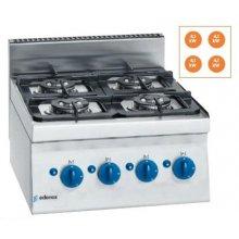 Cocina a gas 2 fuegos 4x 4,1Kw Snack 650 SCG-60 E EDENOX