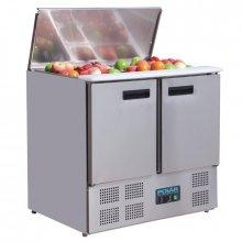 Mostrador Refrigerado para Ensaladas de 2 puertas en Acero Inoxidable de 240 Litros G606 POLAR