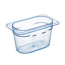 Cubeta GN1/9-100 Azul transparente ABS de 176x108x10 0.9 litros para +80º -40º libre de Bisfenol A (BPA) 74011 Araven (1 ud)