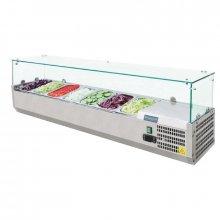 Vitrina Refrigerada con cubierta de Crista de Acero Inoxidable para 7 cubetas Gastronorm de 1/4 G609 POLAR