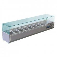 Vitrina Expositora Refrigerada de Acero inoxidable con cubierta de cristal para 8 cubetas 1/4 Gastronorm G610 POLAR