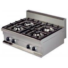 Cocina a gas sobremesa 4 fuegos 4x6kw de 800x700x290h mm GR721S ARISCO