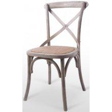 Silla en madera maciza de olmo con asiento de rattan ELBA