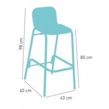 Taburete respaldo aluminio con asiento tejido plastic 4 mm MEDITERRÁNEO MÉDULA RESPALDO