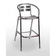 Taburete aluminio con brazos asiento y respaldo con lamas de aluminio ADRIÁTICO ALUMINIO RESPALDO Y BRAZOS