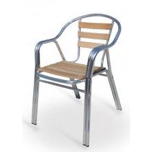 Sillón armazón doble tubo aluminio 25x1,5 asiento y respaldo lamas de madera BREMEN