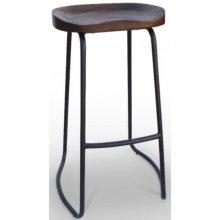Taburete de acero color negro con asiento de madera maciza ÉPOCA