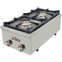 Cocina a gas serie PLUS fondo 75cm de 2 fuegos de Doble corona y llama piloto con potencia 7,5 + 4,5 Kw40CG75PLUS(OUTLET)