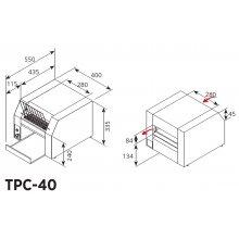 Tostadora eléctrica de cinta 600 tostadas/hora de 450x550x350mm TPC-40