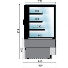 Vitrinas Refrigeradas con cristal curvo fondo 810 VERA-1-C EDENOX