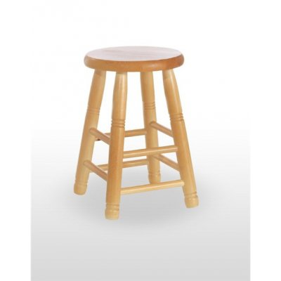 Taburete de madera de pino con asiento de madera TABURETE BODEGA BAJO