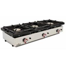 Cocina a gas de 3 fuegos de 6 + 6 + 6 Kw con medidas 1210x457x240h mm120CG(OUTLET)