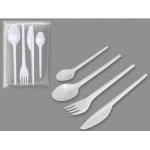 Pack de 24 Set de Cuchara, Cuchillo, Tenedor y Cucharita color Blanco 10153 BESTPRODUCT (1 pack)
