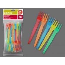 Bolsa de 50 Tenedores para Aperitivo Multicolor PS de 9,5 cms. 10261 BESTPRODUCT (1 bolsa)