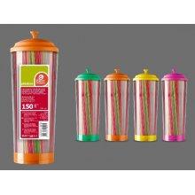 Dispensador de 150 Cañas Flexibles colores Neón de 210x5 mm. 10019 BESTPRODUCT (1 ud)