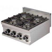 Cocina a gas sobremesa 4 fuegos 4x3,6kw 600x600x265h mm GC606 ARISCO