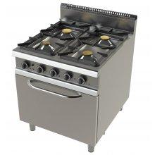 Cocina a Gas con horno GN2/1 de 4 fuegos 4,3+8,3+10+8,3 Kw Serie 900 JUNEX de 800x900x900h mm FO9C401