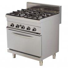 Cocina a gas 4 fuegos 4x6kw con horno GN1/1 a gas de 6kw 800x700x900h mm GR722 ARISCO