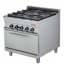 Cocina a gas 4 fuegos 4x8kw con horno 7,5kw 850x900x900h mm GR922 ARISCO