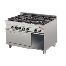Cocina a gas 6 fuegos 6x8kw con horno 7,5kw 1275x900x900h mm GR932 ARISCO