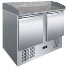 Mesa GN1/1 Preparación Pizzas de 2 Puertas con Encimera de Granito de 900x700x1010h mm S902PZ
